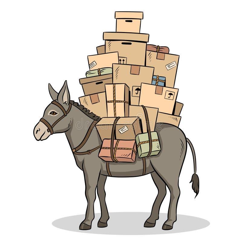 L'âne chargé partage l'illustration de vecteur d'art de bruit illustration de vecteur