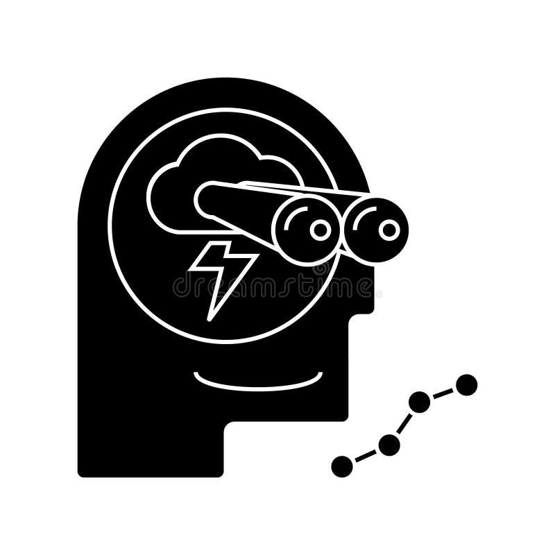 L'échange d'idées - prévision - icône de vision, illustration de vecteur, noir se connectent le fond d'isolement illustration de vecteur