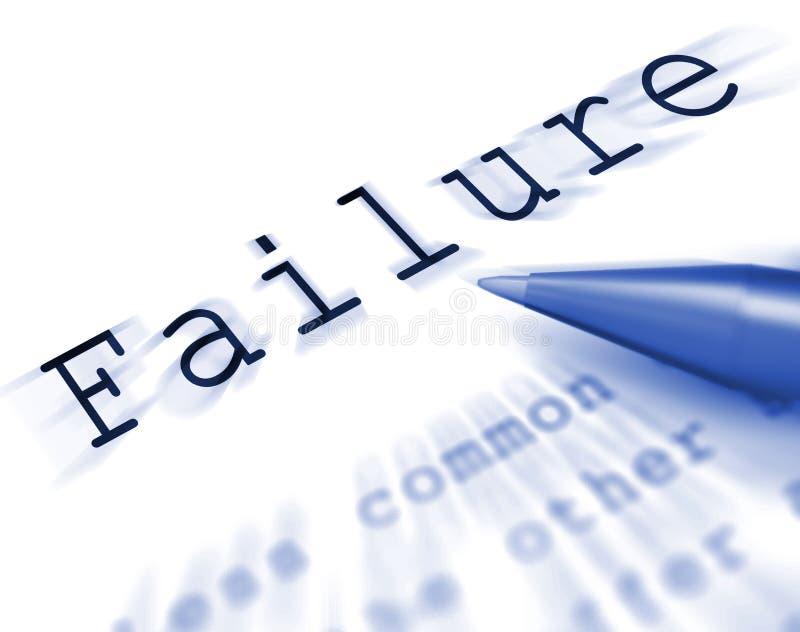 L'échec Word montre infructueux incompétent ou manquer illustration de vecteur