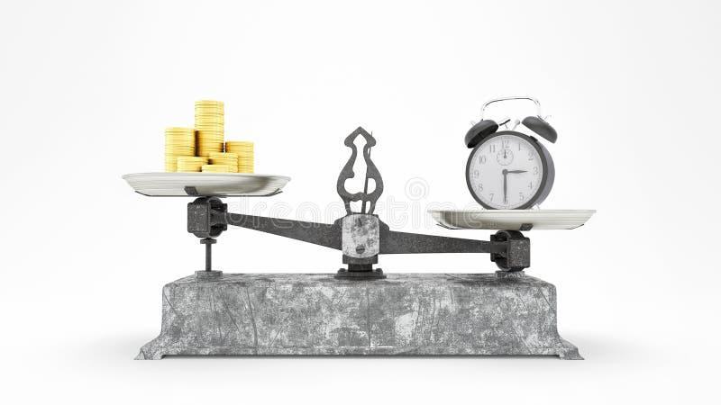 L'échelle d'équilibre avec des pièces d'or d'horloge et, temps vaut plus que le concept 3D d'argent rendent, l'illustration 3D illustration libre de droits