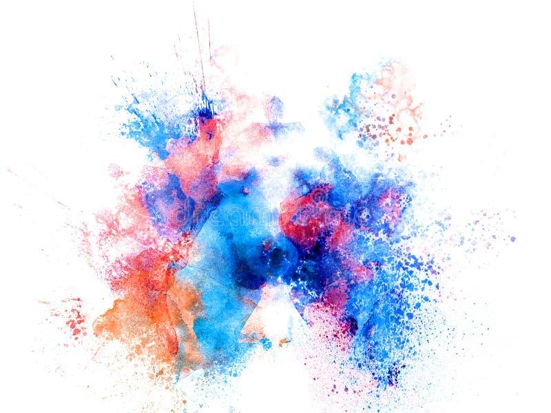 L'éclaboussure colorée de peinture de taches d'aquarelle abstraite balaye le fond illustration de vecteur