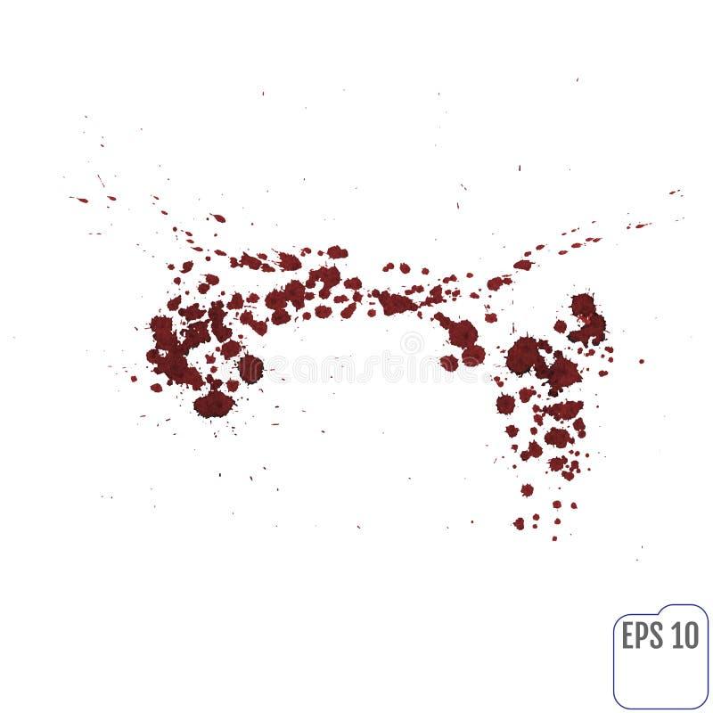 L'éclaboussure ou la tache de sang a éclaboussé de l'encre rouge d'isolement sur le blanc illustration stock