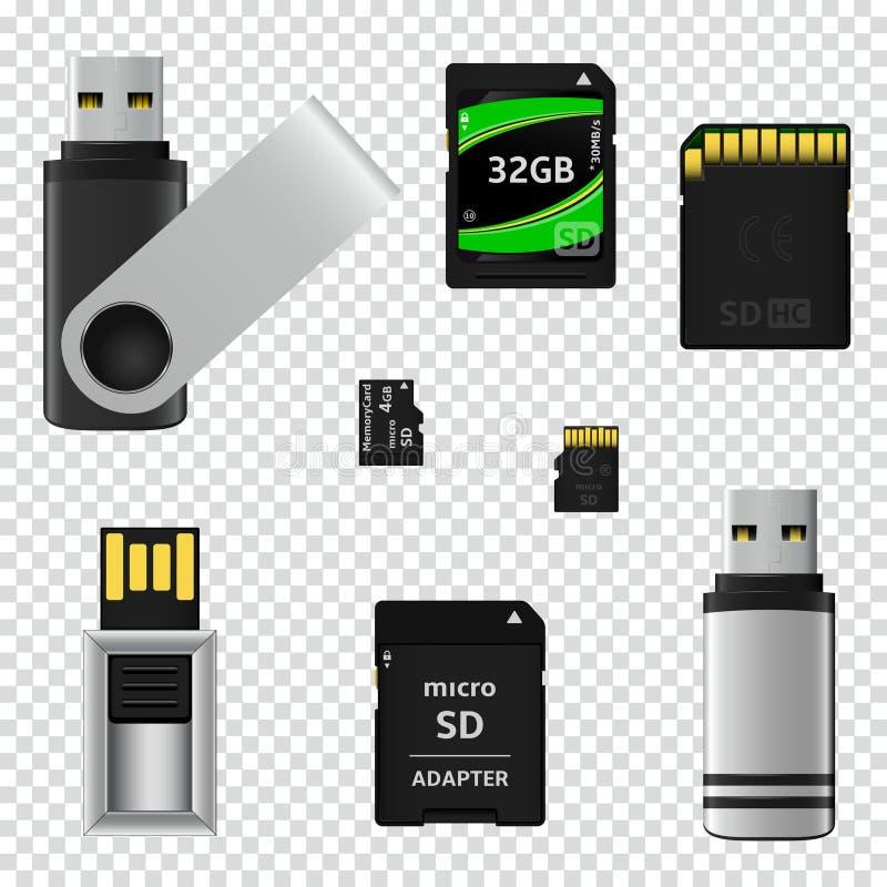 L'éclair d'USB conduit et les cartes de mémoire d'isolement sur le fond transparent illustration libre de droits