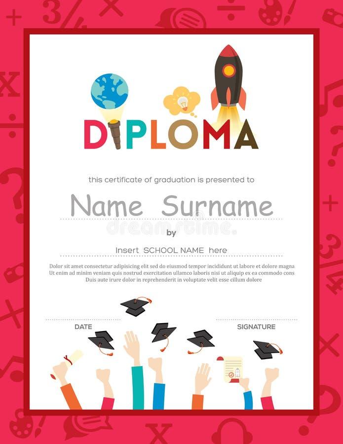 L'école badine le fond de certificat de diplôme illustration libre de droits
