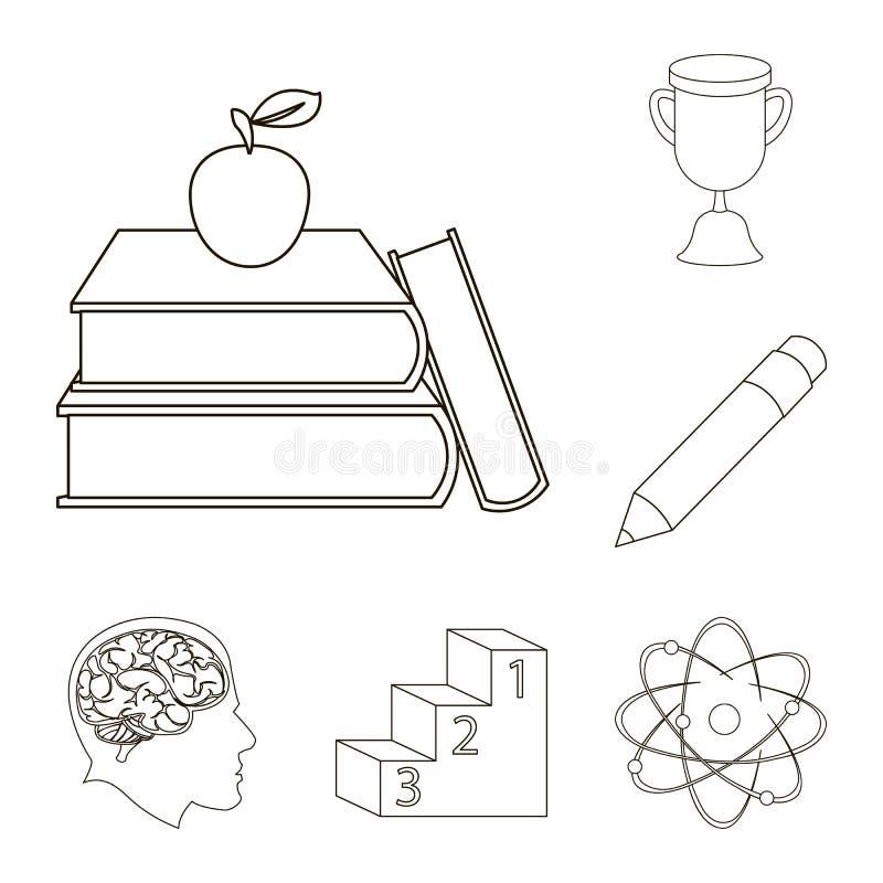 L'école et l'éducation décrivent des icônes dans la collection d'ensemble pour la conception L'université, l'équipement et les ac illustration stock