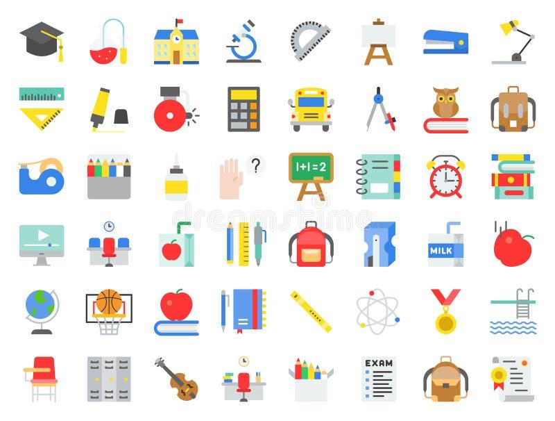 L'école et l'éducation ont rapporté l'icône réglée dans la conception plate telle que le sch illustration de vecteur