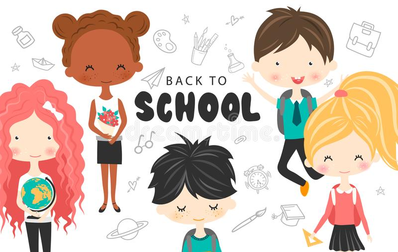L'école mignonne badine avec les sacs à dos, le globe et le livre Collection heureuse de bande dessinée d'enfants Enfants multicu illustration libre de droits