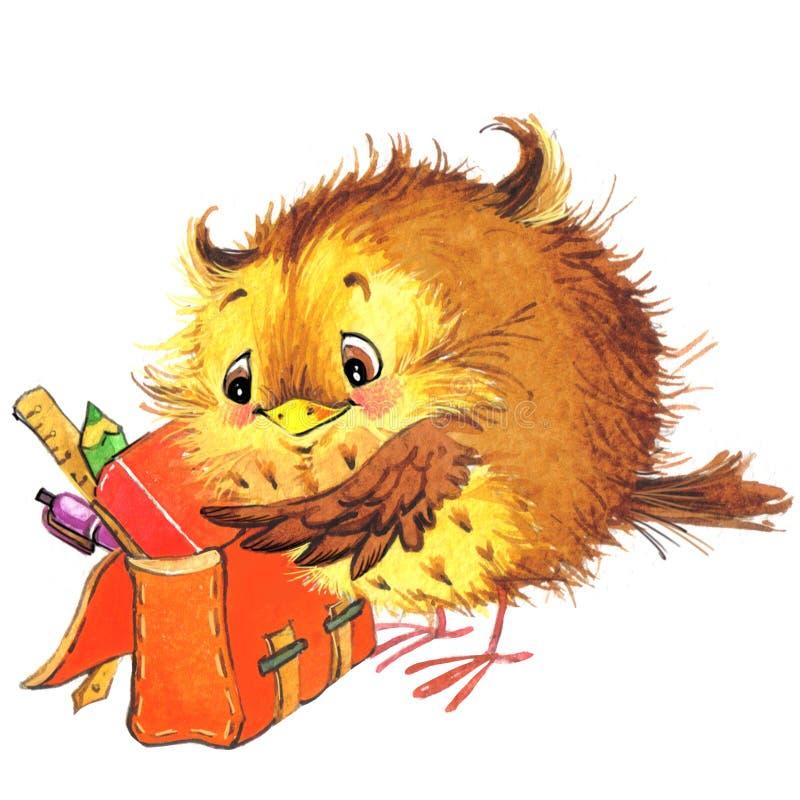 L'école mignonne d'école de bande dessinée badine le fond d'éducation Watercolorwatercolor animal mignon illustration stock