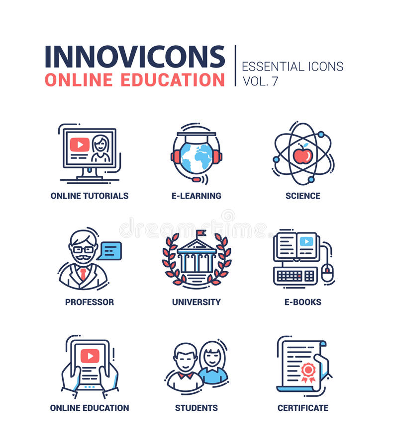 L'école moderne et la ligne mince d'éducation conçoivent des icônes, pictogrammes illustration de vecteur