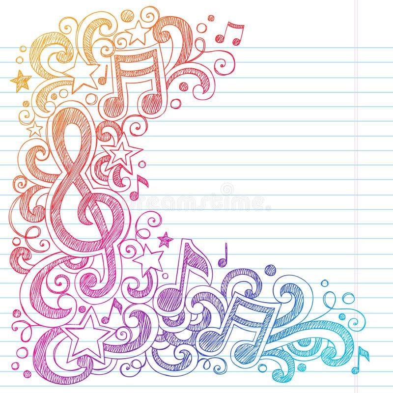 L'école peu précise de notes de musique gribouille le vecteur Illustra illustration libre de droits