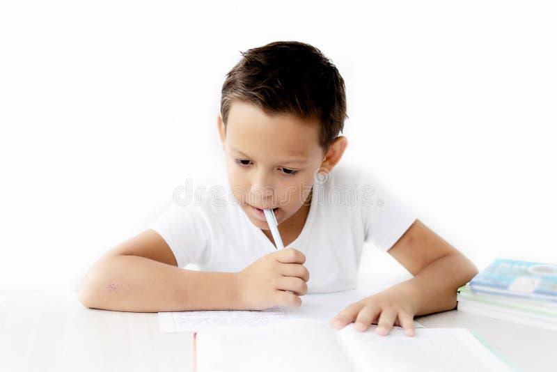 L'écolier de garçon enseigne des leçons écrivant dans le carnet photo stock