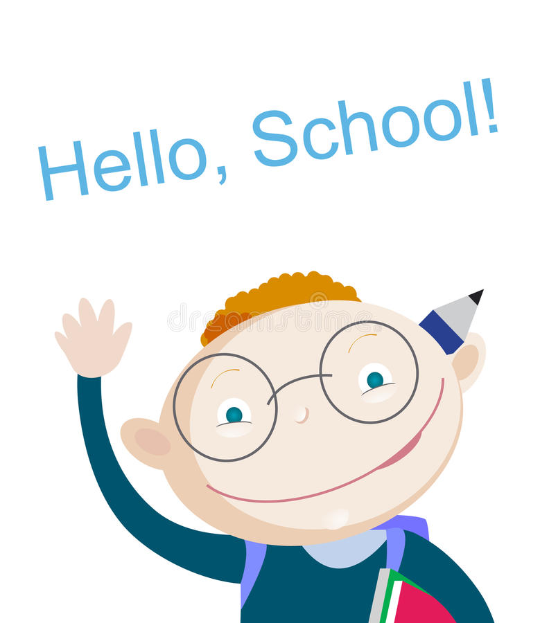 L'écolier rouge de sourire de cheveux se tenant en haut et montrant le carnet avec la salutation expriment bonjour l'école L'espa illustration libre de droits