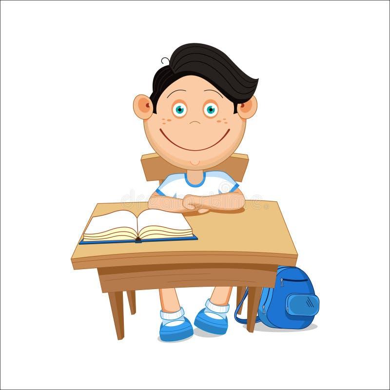 L'écolier s'assied à une table, illustration de vecteur illustration libre de droits