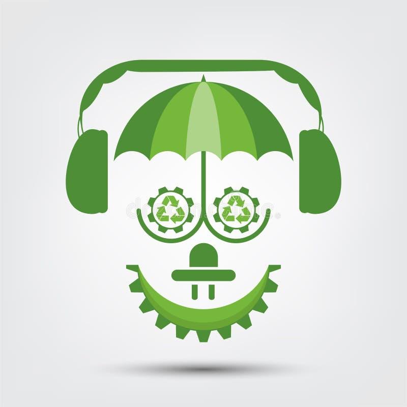 L'écologie de personnes et le concept environnemental, symbole de la terre avec les feuilles vertes autour des villes aident le m illustration stock