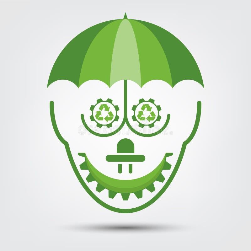 L'écologie de personnes et le concept environnemental, symbole de la terre avec les feuilles vertes autour des villes aident le m illustration de vecteur