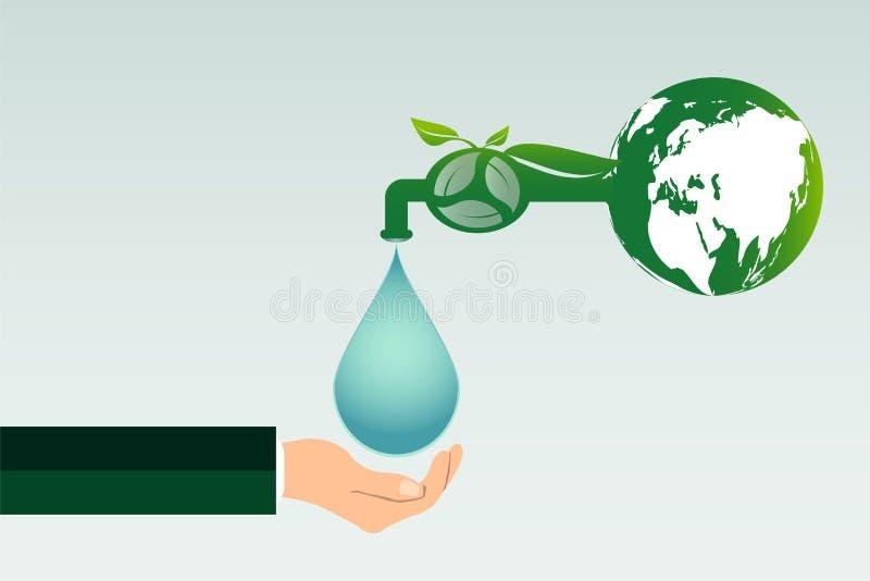 L'écologie, la réutilisation d'énergie propre de l'eau d'économies et la participation de main, les villes vertes aident le monde illustration stock
