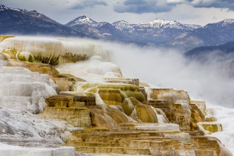 L'écoulement géothermique de chaud, l'eau riche de carbonate, forme cascader, d photo stock