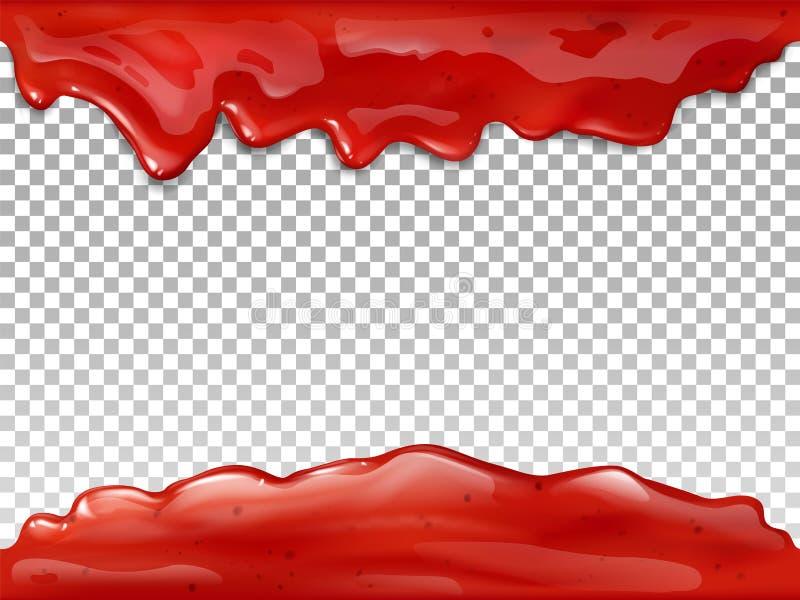L'écoulement rouge de confiture laisse tomber l'illustration du vecteur 3D illustration de vecteur