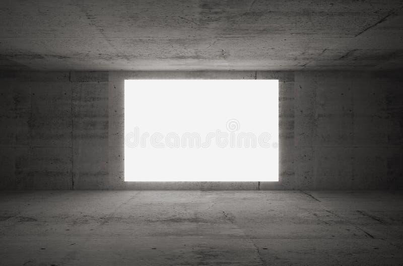 L'écran blanc vide rougeoie dans la pièce concrète sombre illustration libre de droits