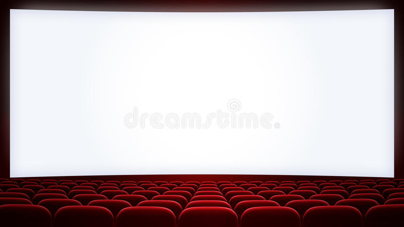 L'écran de cinéma avec le rouge pose le backgound (aspect illustration de vecteur
