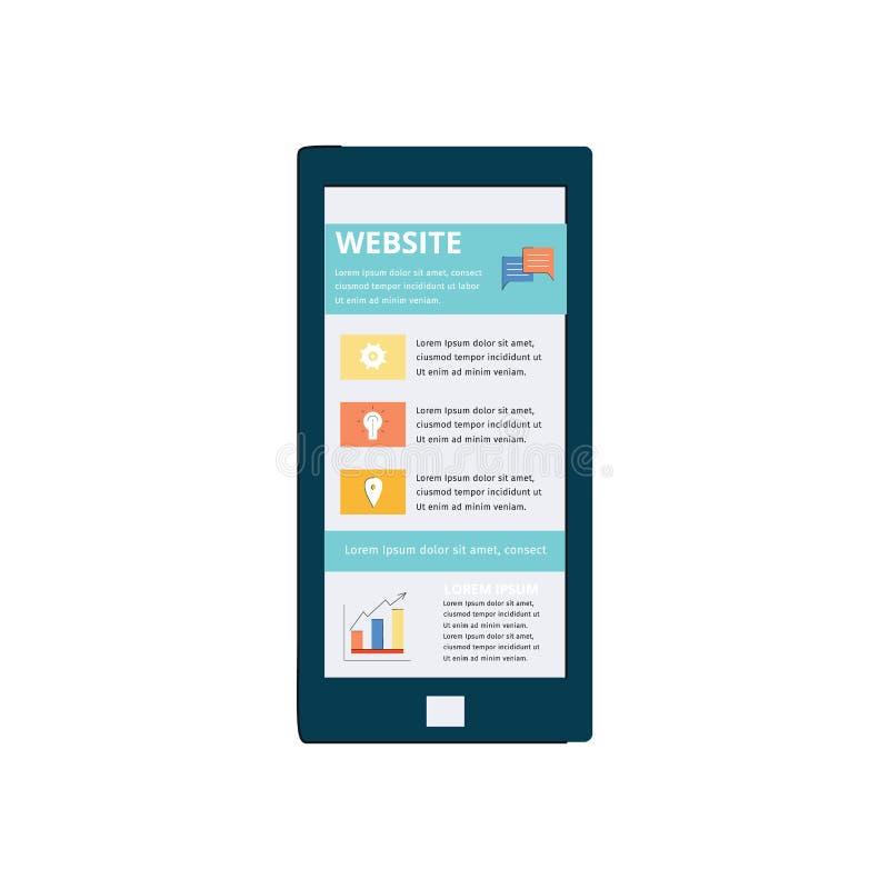 L'écran de téléphone montre l'illustration plate de vecteur de publication en ligne d'article d'isolement illustration de vecteur