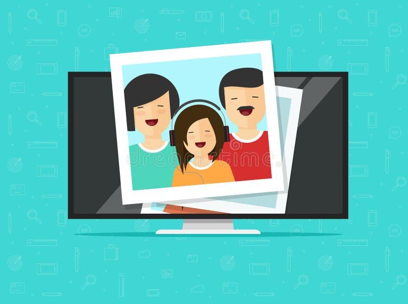 L'écran plat de TV avec la photo carde l'illustration de vecteur, le moniteur plat d'affichage à cristaux liquides d'ordinateur d illustration de vecteur