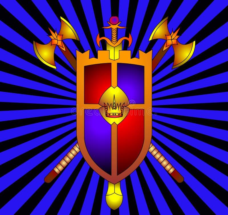 L'écran protecteur avec la corona et l'arme illustration de vecteur