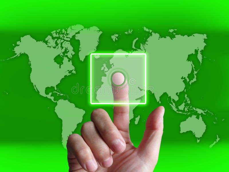 L'écran tactile de contact de main sur la carte du monde montre l'Internet WWW illustration de vecteur