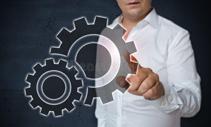 L'écran tactile de vitesse est actionné par concept de l'homme image stock