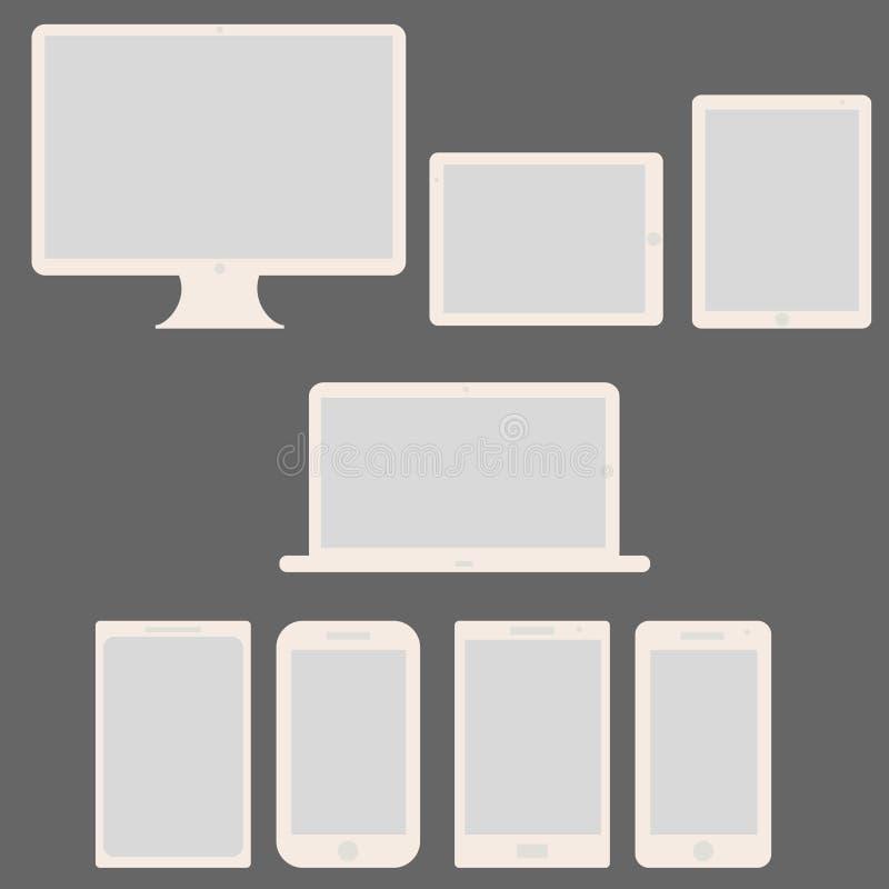 L'écran vide moderne d'informatique a placé - Lapt illustration stock