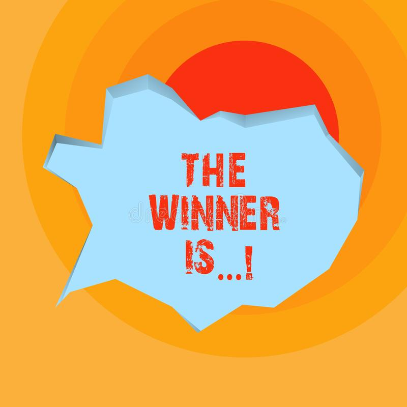 L'écriture conceptuelle de main montrant le gagnant est Annonce de présentation de photo d'affaires qui a gagné une victoire de c illustration stock