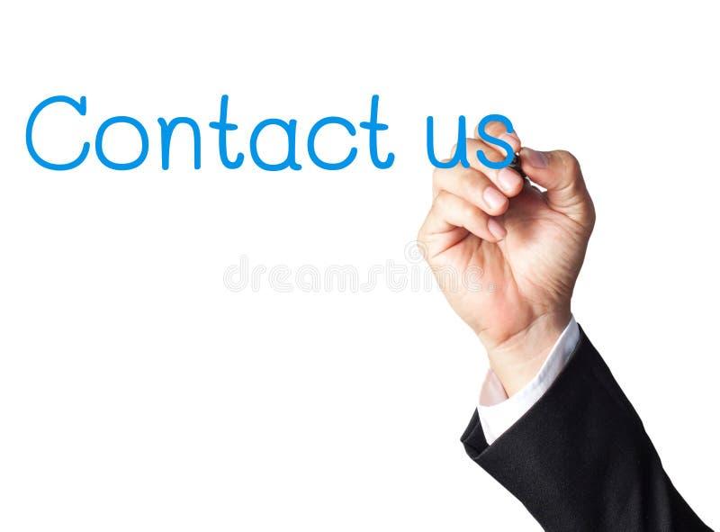 L'écriture de main d'homme d'affaires nous contactent photos stock