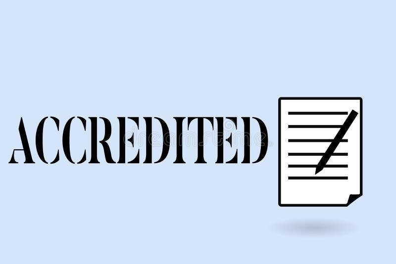 L'écriture des textes d'écriture a accrédité La signification de concept ayant l'autorité de crédits à quelque chose a certifié a images stock