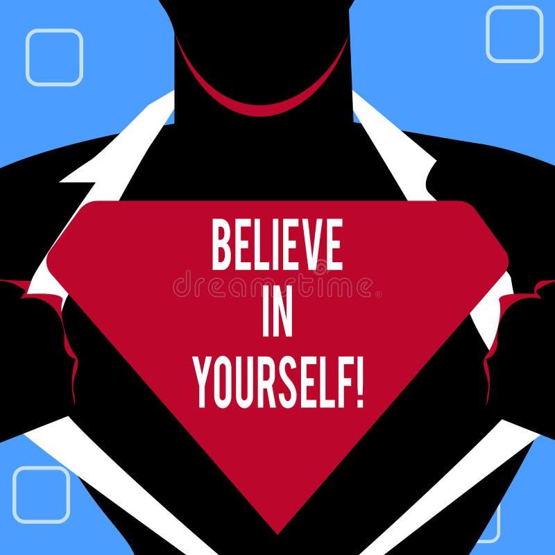 L'écriture des textes d'écriture croient en vous-même Concept signifiant la croyance de foi de confiance de courage de positivité illustration de vecteur