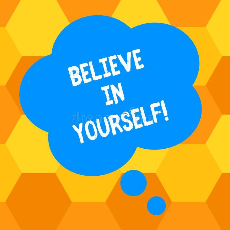 L'écriture des textes d'écriture croient en vous-même Signification de concept ayant la confiance dans vos capacités en faisant l illustration de vecteur