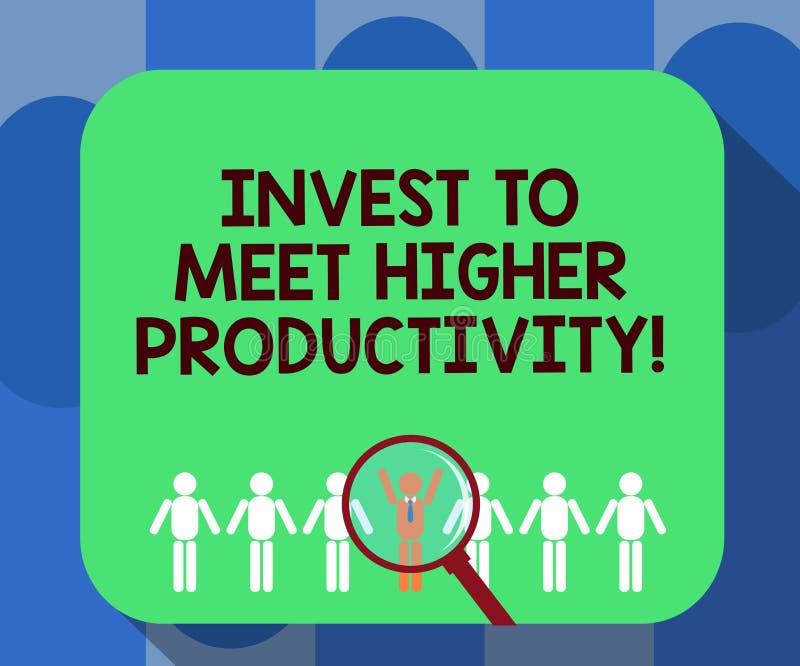 L'écriture des textes d'écriture investissent pour rencontrer une productivité plus élevée La signification de concept réalisent  illustration stock