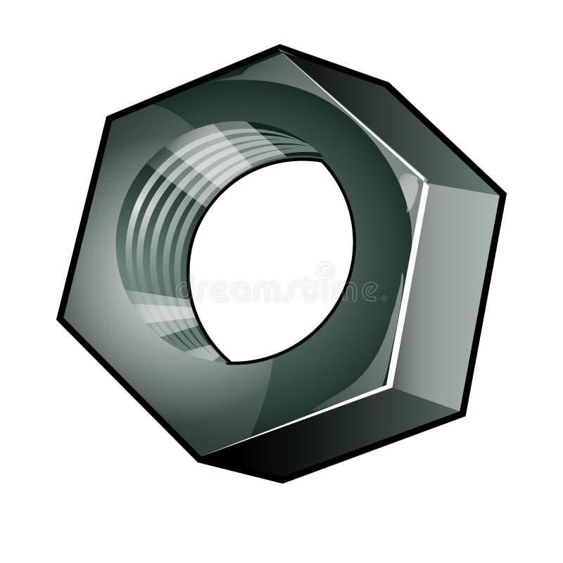 L'écrou métallique simple d'isolement sur un fond blanc Élément en acier d'attache Illustration de plan rapproché de bande dessin illustration stock