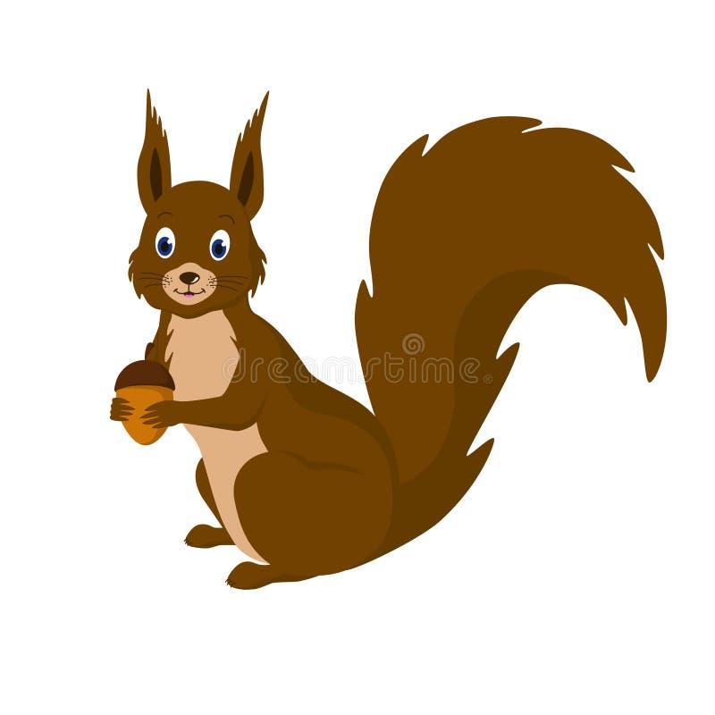 L'écureuil avec le gland dans des ses pattes illustration de vecteur