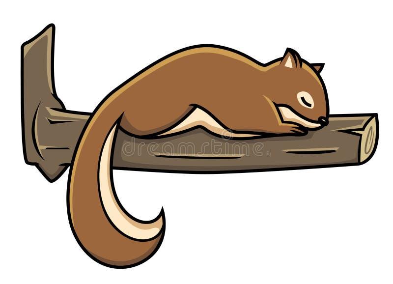 L'écureuil dormant sur un vecteur d'arbre photo libre de droits