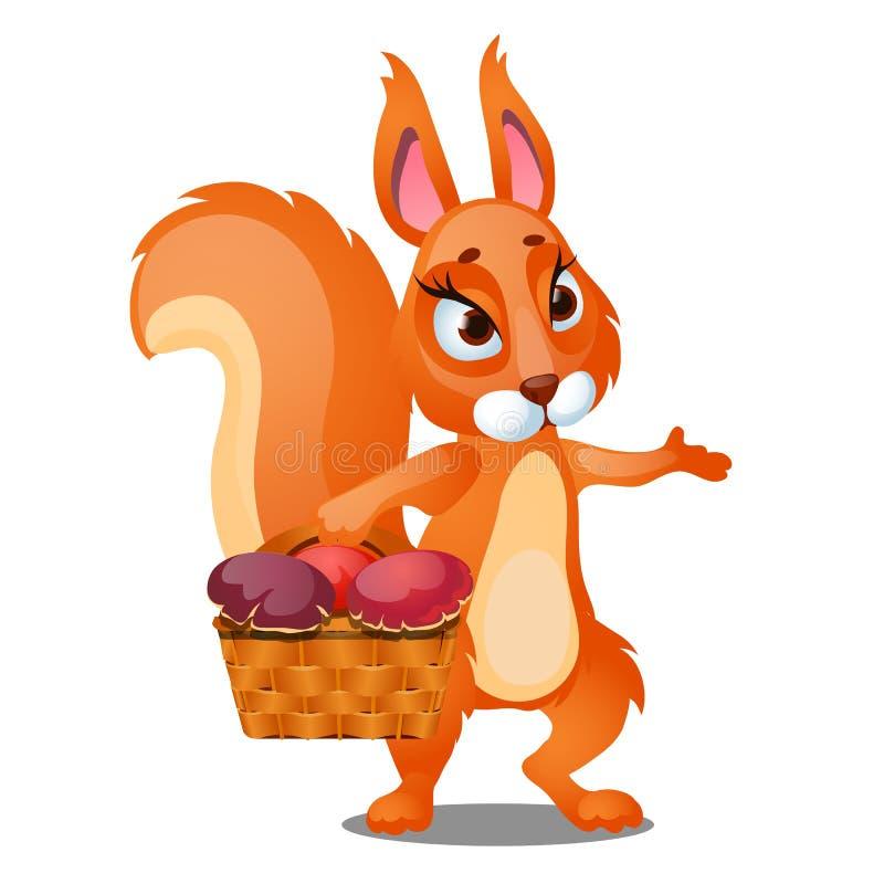 L'écureuil rouge porte un panier en osier rempli de champignons d'isolement sur le fond blanc Plan rapproché de bande dessinée de illustration libre de droits