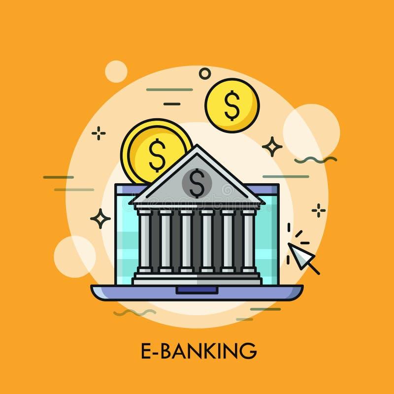 L'édifice bancaire classique contre l'écran et le dollar d'ordinateur portable invente sur le fond Services bancaires en ligne, p illustration stock