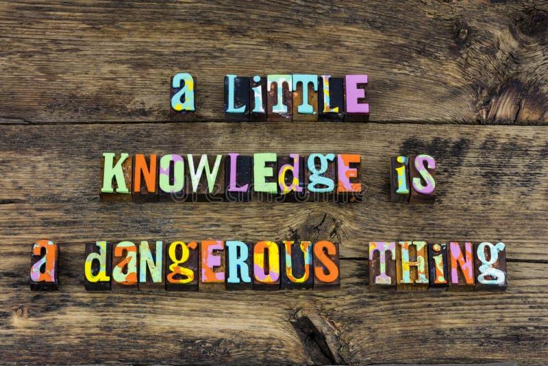 L'éducation de chose de danger de la connaissance apprennent la typographie images stock