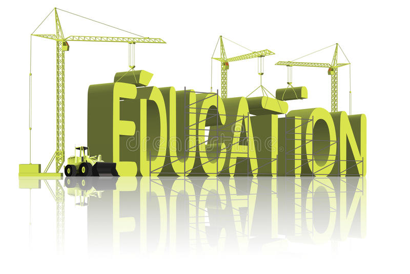 L'éducation de construction apprennent que la connaissance vont à l'école illustration de vecteur