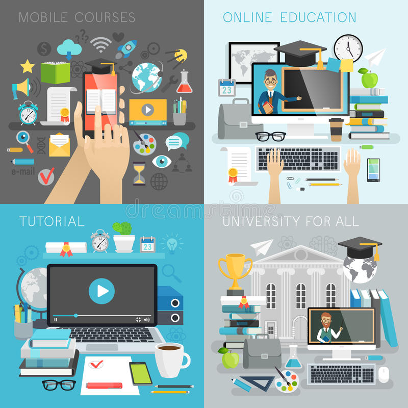L'éducation en ligne, le cours, l'université pour tous et le mobile chasse des concepts illustration stock