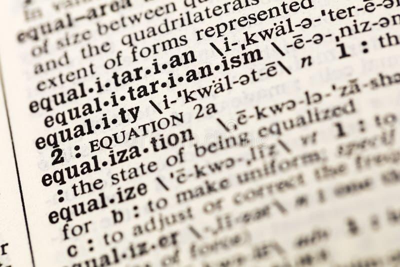 L'égalité égalisent le dictionnaire égal de justice de diversité image stock