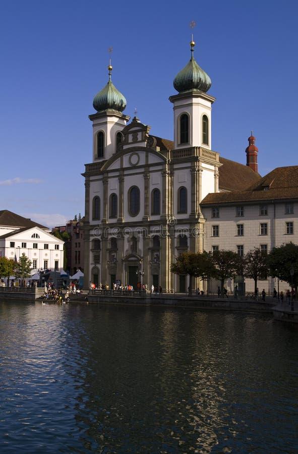 L'église baroque Luzerne Suisse de jésuite photographie stock