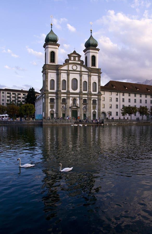 L'église baroque Luzerne Suisse de jésuite photo libre de droits