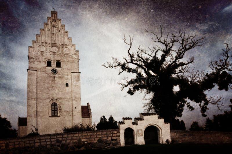 L'église d'Elemelunde sur l'île Moen, Danemark photos stock