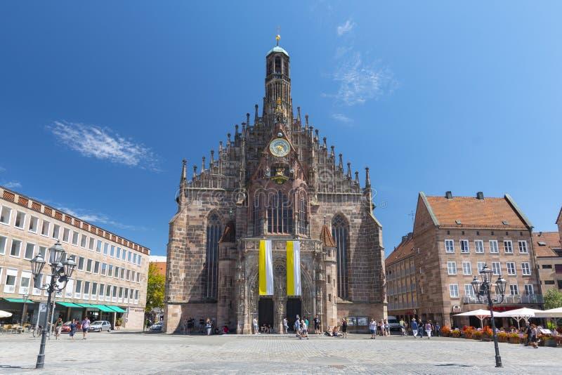 L'église de Frauenkirche des dames à Nuremberg, Bavière, Allemagne photos libres de droits