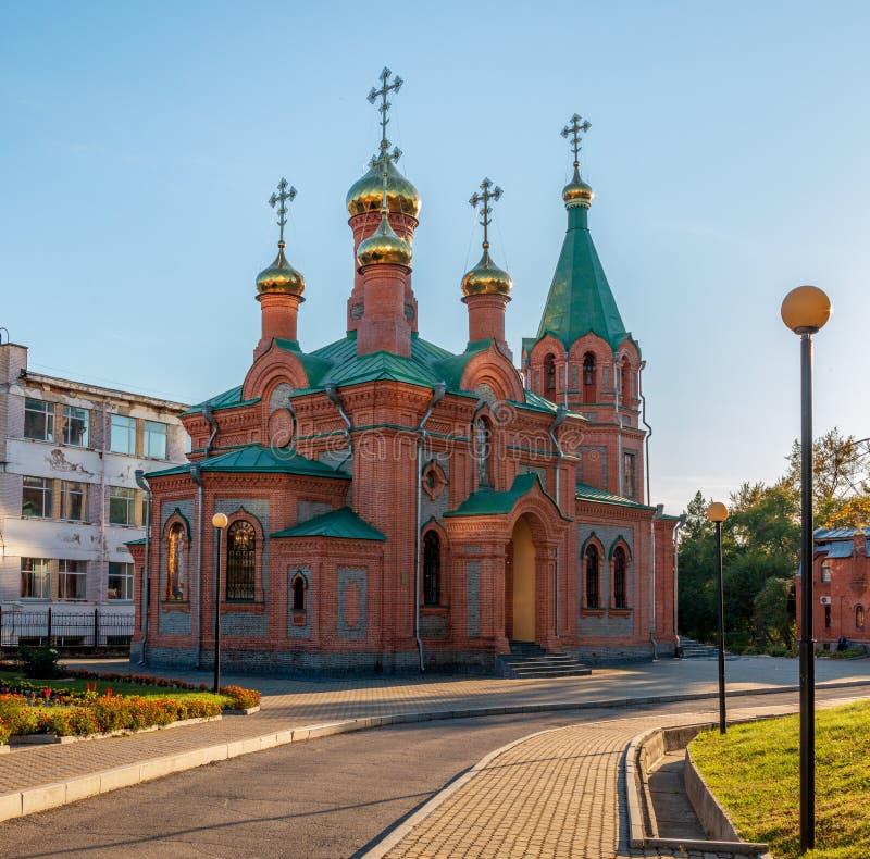 L'église de l'innocent de St d'Irkoutsk dans la ville d'Extrême-Orient de Khabarovsk photographie stock libre de droits